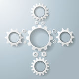White Gears Cros. White gears on the grey background. Eps 10  file Royalty Free Stock Photography