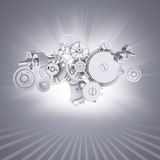 White gears on gray background with stripes at Royalty Free Stock Images