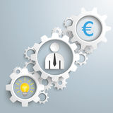 White Gears Idea Businessman Euro Royalty Free Stock Photography