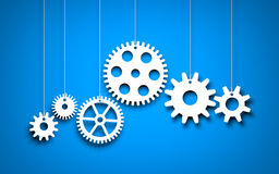 Free White Gears On Blue Background Royalty Free Stock Photography - 90646947