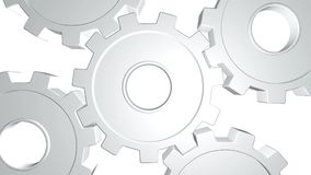 White gears in a rotate . White background. Alpha channel. Close up. White gears in a horizontal position rotate by one mechanism. White background. Alpha royalty free illustration