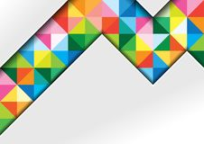White Geometric Background with Colorful Squares. White Background with Colorful Squares and Shadows in Geometric Abstract Illustration - Template for Visit Card Stock Image