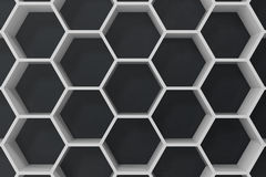 White geometric hexagonal abstract background with black wall, 3D rendering. White geometric hexagonal abstract background with black wall. 3D rendering Royalty Free Stock Photos