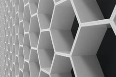 White geometric hexagonal abstract background with black wall, 3D rendering Stock Images