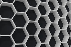 White geometric hexagonal abstract background with black wall, 3D rendering. White geometric hexagonal abstract background with black wall. 3D rendering Royalty Free Stock Photography