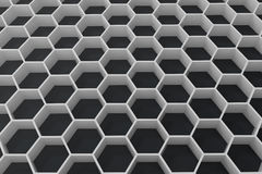 White geometric hexagonal abstract background with black wall, 3D rendering. White geometric hexagonal abstract background with black wall. 3D rendering Stock Photography