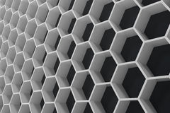 White geometric hexagonal abstract background with black wall, 3D rendering. White geometric hexagonal abstract background with black wall. 3D rendering Stock Image