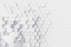 White geometric hexagonal abstract background. 3d rendering. White geometric hexagonal abstract background, 3d rendering Royalty Free Stock Photos