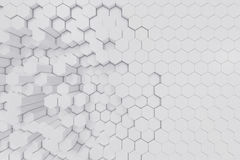 White geometric hexagonal abstract background. 3d rendering. White geometric hexagonal abstract background, 3d rendering stock illustration
