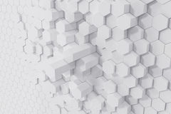White geometric hexagonal abstract background. 3d rendering Royalty Free Stock Images