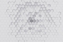 White geometric hexagonal abstract background. 3d rendering Stock Image