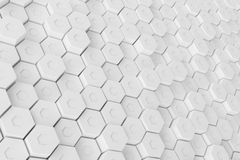 White geometric hexagonal abstract background, 3d rendering Royalty Free Stock Photo