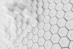 White geometric hexagonal abstract background, 3d rendering Royalty Free Stock Photos