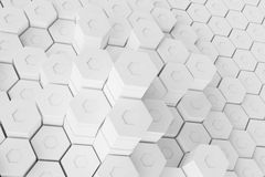 White geometric hexagonal abstract background, 3d rendering Stock Image