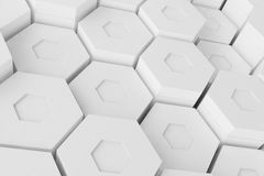 White geometric hexagonal abstract background, 3d rendering Royalty Free Stock Photography