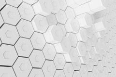 White geometric hexagonal abstract background, 3d rendering Stock Photography