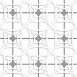 White geometric ornament with gray net seamless Stock Images