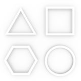 White geometric shapes. Four white geometric shapes stacked on a white background. Figures this circle, square, triangle and hexagon Royalty Free Stock Images