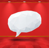 White geometric speech bubble in the room Stock Image