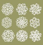 White geometric star shapes, snowflakes with fine shadow, set of design elements. In vector eps10 Royalty Free Stock Photo