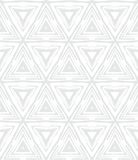 White geometric texture in art deco style. With triangles for Christmas and holiday decor or wedding invitation background. Seamless vector pattern for winter stock illustration