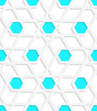 White geometrical detailed with blue hexagons gray seamless patt. Abstract 3d geometrical seamless background. White geometrical detailed with blue hexagons and Stock Photos