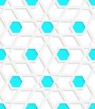 White geometrical detailed with blue hexagons gray seamless patt Stock Photos