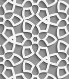 White  geometrical floristic net on gray seamless pattern Stock Photography