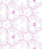 White geometrical floristic with purple layering seamless patte. Abstract 3d seamless background. White geometrical floristic with purple layering pattern with royalty free illustration