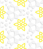 White  geometrical floristic with yellow layering seamless patte Royalty Free Stock Photography