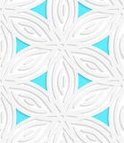 White geometrical flower like shapes with blue seamless pattern Stock Photos