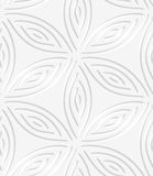 White geometrical flower like shapes perforated seamless pattern Royalty Free Stock Photos
