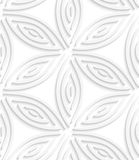 White geometrical flower like shapes seamless pattern. Abstract 3d geometrical seamless background. White geometrical flower like shapes with cut out of paper Stock Photos