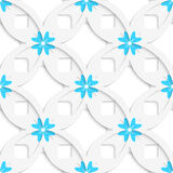 White geometrical flowers and squares layered seamless Stock Image