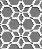 White geometrical net on textured gray seamless pattern. Abstract 3d geometrical seamless background. White geometrical net with cut out of paper effect on gray Stock Photography