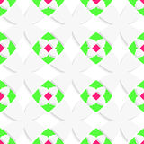 White geometrical ornament with green and pink Stock Photos