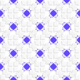 White geometrical ornament with textured blue details Stock Images
