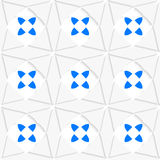 White geometrical ornament with triangles and blue Stock Images