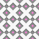 White geometrical ornament with white net and pink squares on gr Royalty Free Stock Image