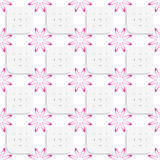 White geometrical perforated leaves and pink flowers seamless Stock Images