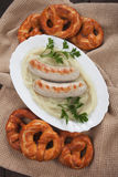 White german sausage with mashed potato Stock Photography