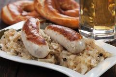 White german sausage with sauerkraut Stock Photo