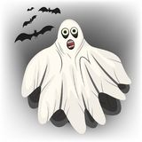White Ghost with black bats for Halloween. White Ghost with black bats Stock Photography