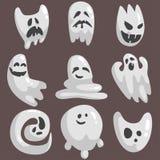 White Ghosts In Childish Cartoon Manner Set On Dark Background. Stock Image