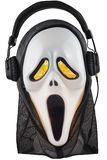 White ghoulish Halloween mask with headphones stock images