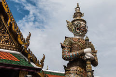 White Giant Guardian in Wat Phra Kaew temple Royalty Free Stock Photo