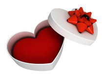 White gift as heart. Open with ribbon Stock Photography