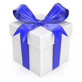 White gift with a blue ribbon and a bow Stock Image