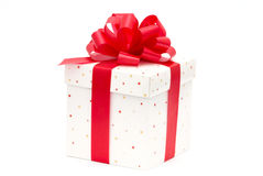 White gift box. With red ribbon isolated on white Royalty Free Stock Photo