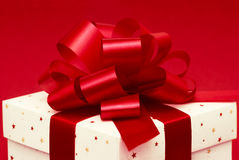 White gift box. With red ribbon Stock Photography
